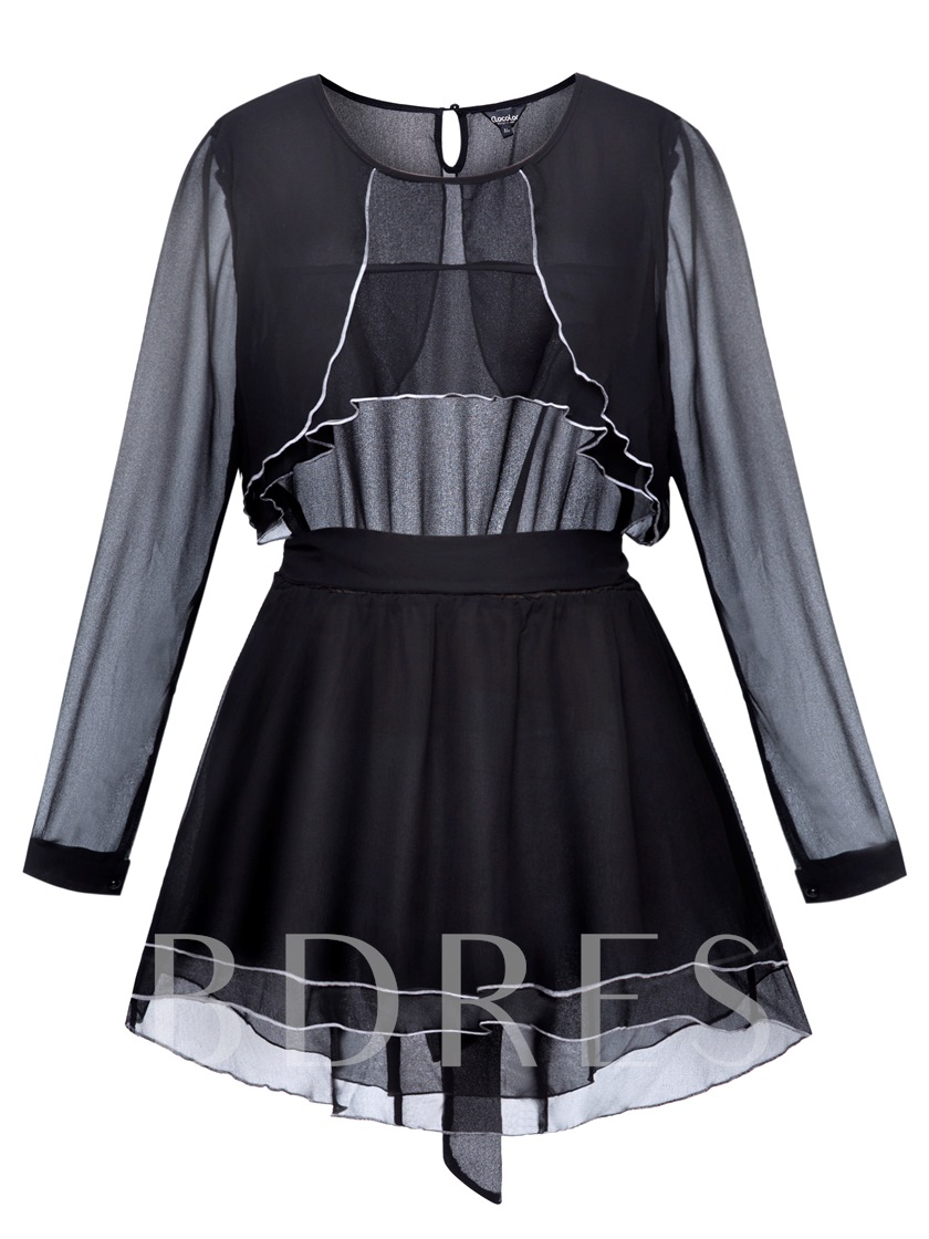 Asymmetric Bow Knot Belt Round Neck Women's Blouse