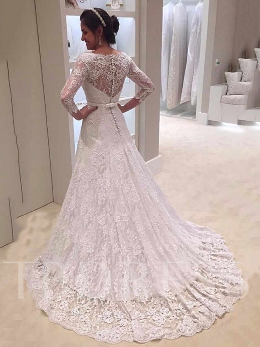 A-Line V-Neck Lace Wedding Dress with 3/4 Length Sleeves ...