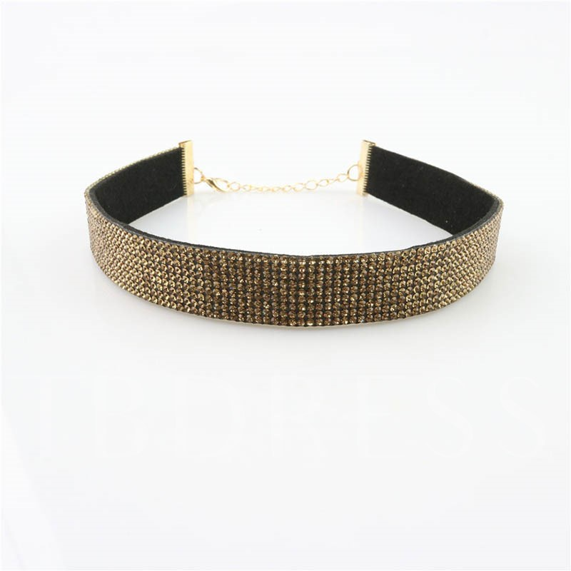 Wide-Brimmed Full Drill Diamante Torques Choker Necklace