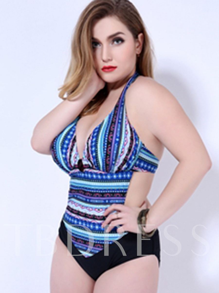 Vintage Geometric Print Backless Plus Size One Piece Swimsuit