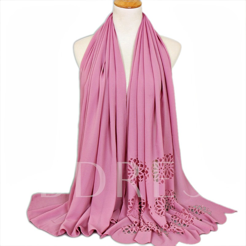 Moslem Chiffon Hollow Plain Simple Scarfs