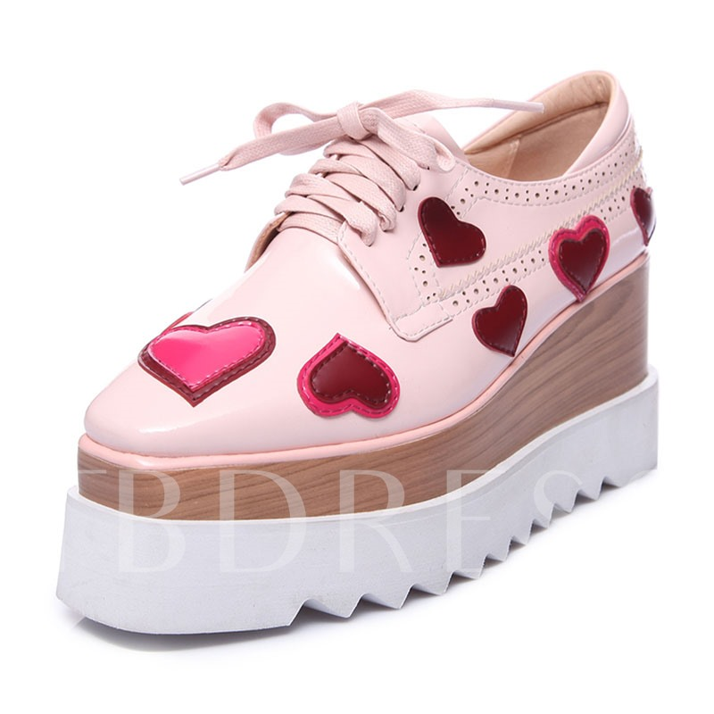 Heart Shaped Color Block Sweat Lace-Up Women's Platform Sneakers