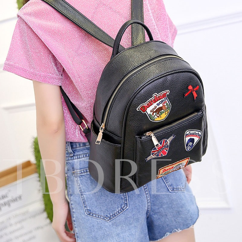 Exquisite Embroidery PU Women's Backpack
