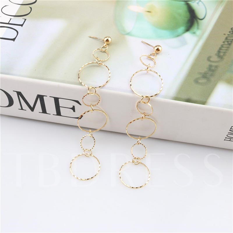Hollow Out Circle Alloy Hoop Earrings