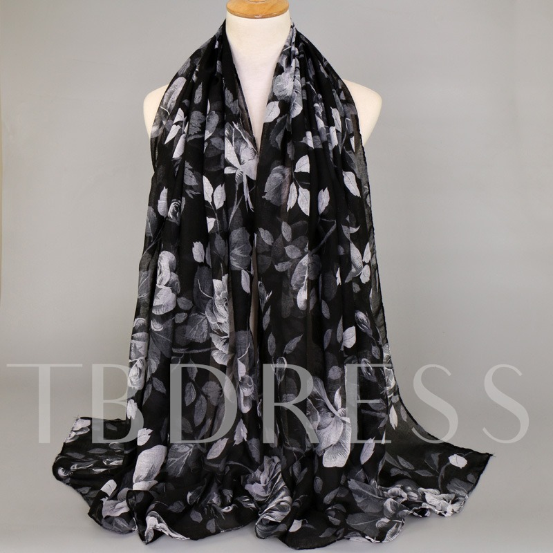 Voile Leaves Printed Colorful Scarfs