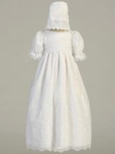 Sleeves Lace Baby Girl's Christening Gown with Bonnet