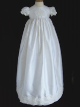 Short Sleeves Appliques Long Christening Gown