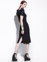 Black Puff Sleeve Women's Sheath Dress