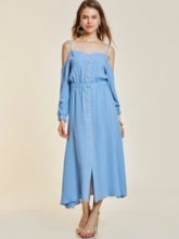 Off Shoulder Single-Breasted Women's Maxi Dress