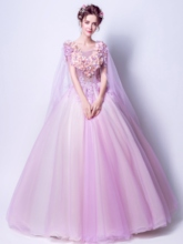 Appliques Scoop Beading Ball Gown Flowers Quinceanera Dress
