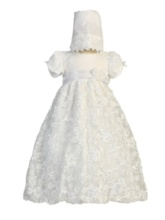 Short Sleeves Lace Long Christening Gown