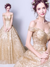 Ball Gown Off-the-Shoulder Sashes Sequins Court Train Quinceanera Dress