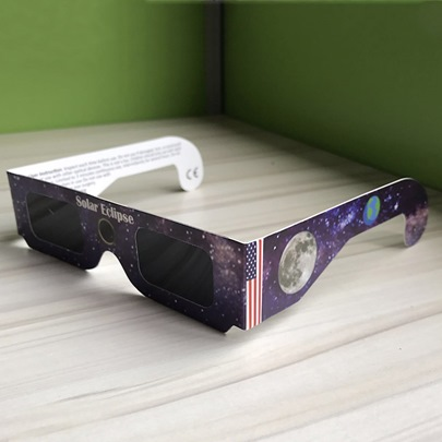 American Flag Galaxy Pattern Solar Eclipse Glasses(Only White Color)