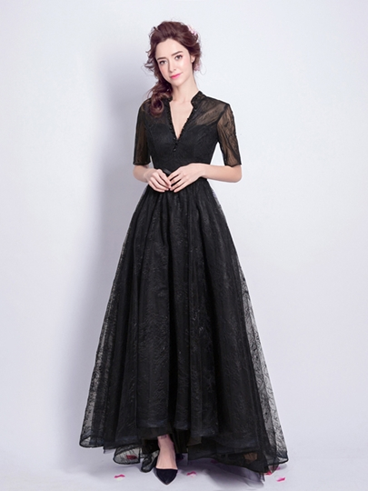 Beaded Lace A-Line V-Neck Floor-Length Evening Dress