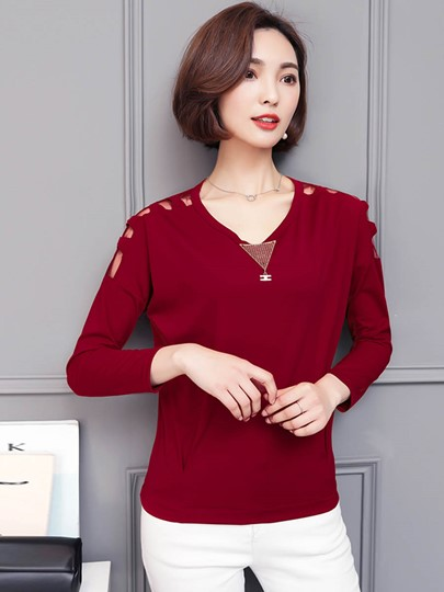 Hole Solid Color Long Sleeve Women's T-Shirt