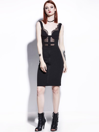 Black Lace Patchwork Backless Women's Sheath Dress