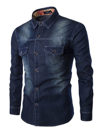 Lapel Long-Sleeve Slim Men's Denim Shirt