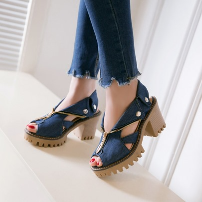 Hollow Platform Purfle Rivet Thread Slingback Strap Zipper Women's Sandals