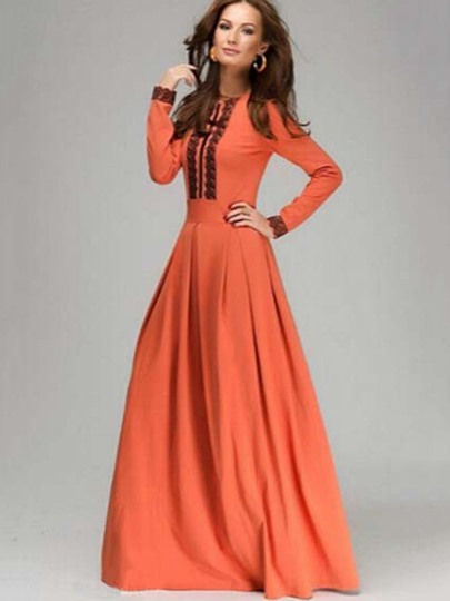Orange Round Neck Lace Women's Maxi Dress (Plus Size Available)