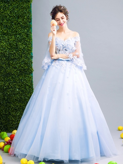 Off-the-Shoulder Beading Bowknot Off-the-Shoulder Flowers Sashes Quinceanera Dress