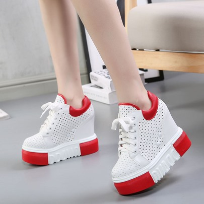 Hidden Elevator Heel Hollow Platform Rivet Color Block Women's Sneakers