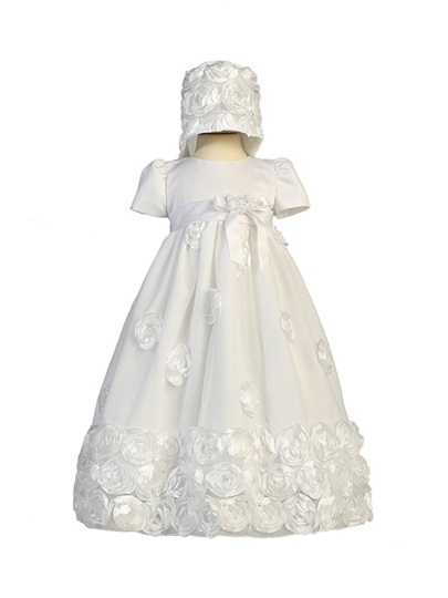 Sashes Flowers Baby Girl's Christening Gown with Bonnet