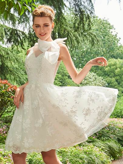 Appliques Bowknot Knee-Length Beach Wedding Dress
