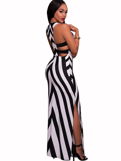 White Striped Bandage Women's Maxi Dress