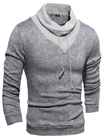 Round Neck Solid Color Slim Fit Men's Hoodie