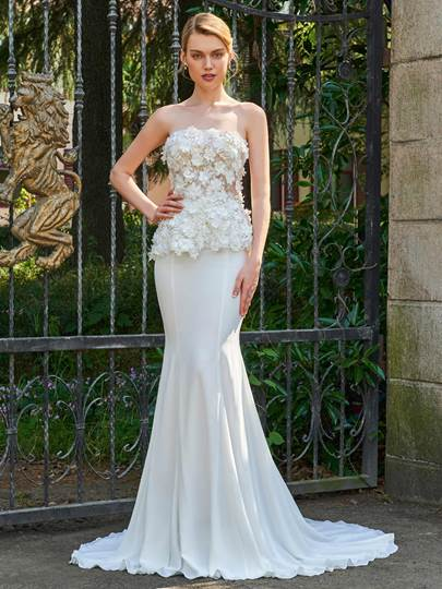 Strapless Little Flowers Court Train Mermaid Wedding Dress