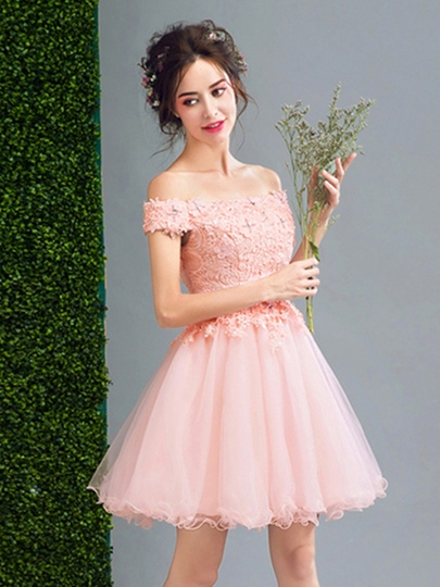 Off-the-Shoulder A-Line Appliques Beaded Pearls Short Homecoming Dress