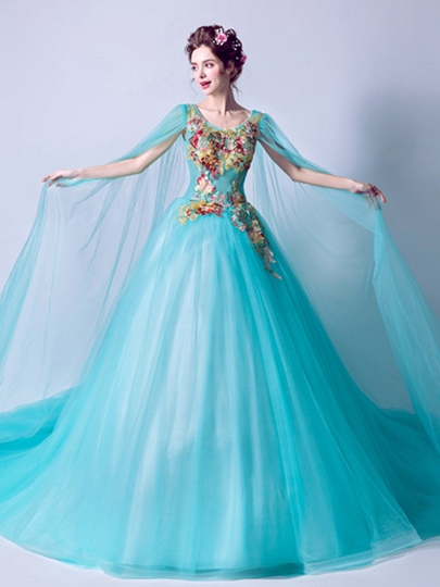 Scoop Ball Gown Beaded Embroidery Watteau Train Quinceanera Dress