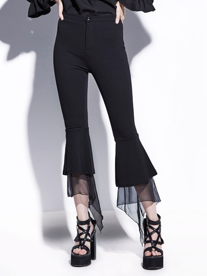 Black Chiffon Bell Bottoms Women's Pants