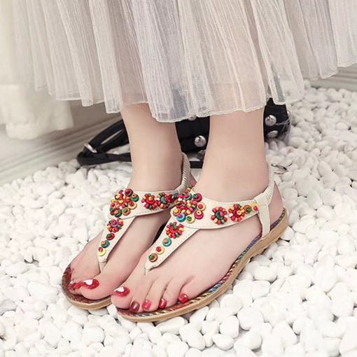 Flat With Elastic Band Strappy Beads Thread Thong Women's Sandals