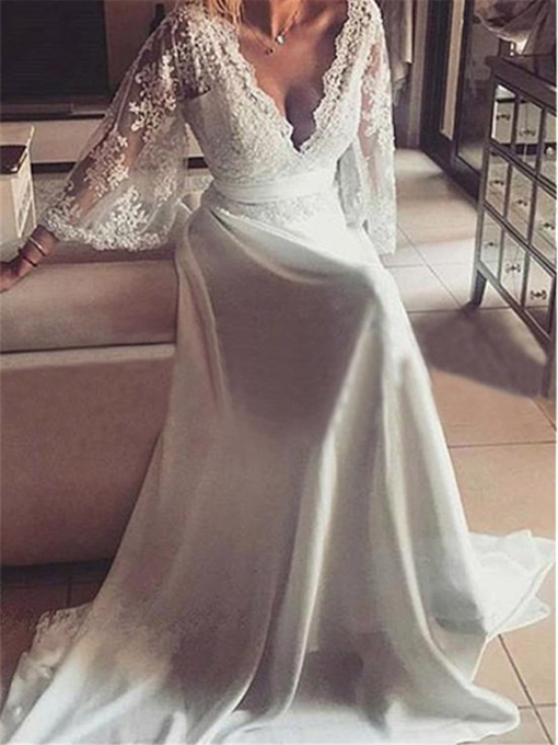 V-Neck Appliques Sleeves Sashes A-Line Wedding Dress