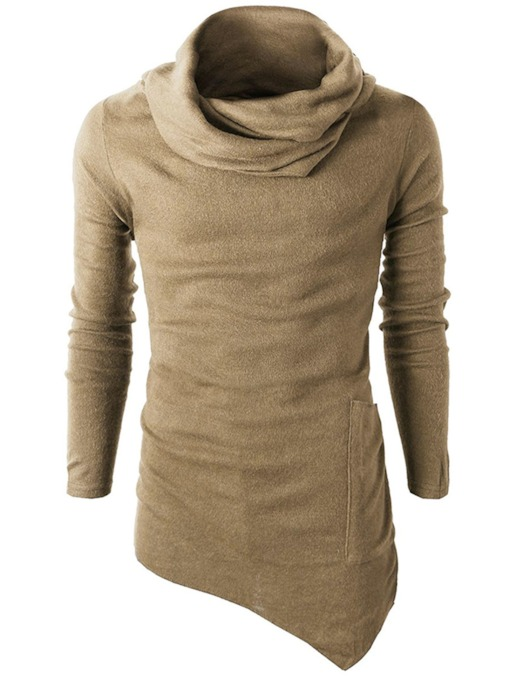 Irregular Solid Color Vogue Slim Men's Hoodie