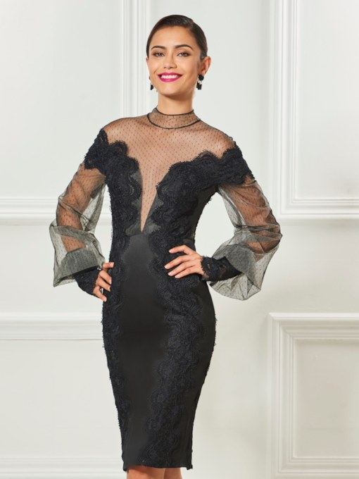 High Neck Long Sleeves Sheath Appliques Knee-Length Cocktail Dress