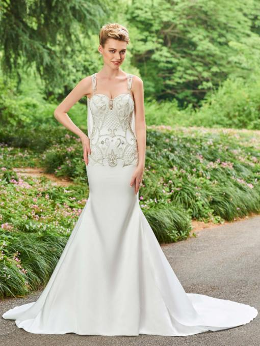 Straps Beading Chapel Train Mermaid Wedding Dress