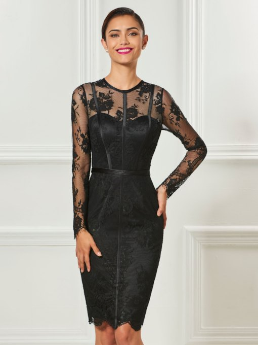 Sheath Jewel Neck Long Sleeves Button Lace Knee-Length Cocktail Dress