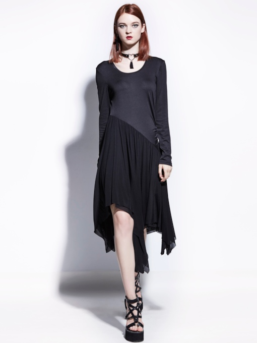 Black Asym Patchwork Women's Day Dress