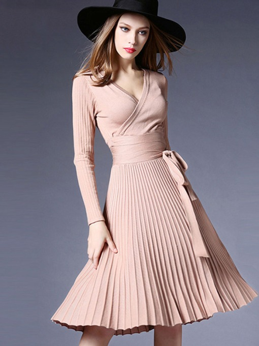Long Sleeve Lace up Pleated Women's Day Dress