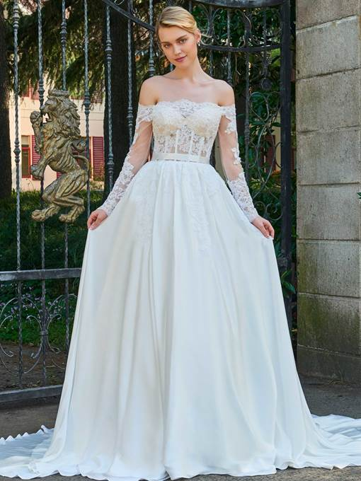 Off-The-Shoulder Long Sleeves Appliques A-Line Wedding Dress