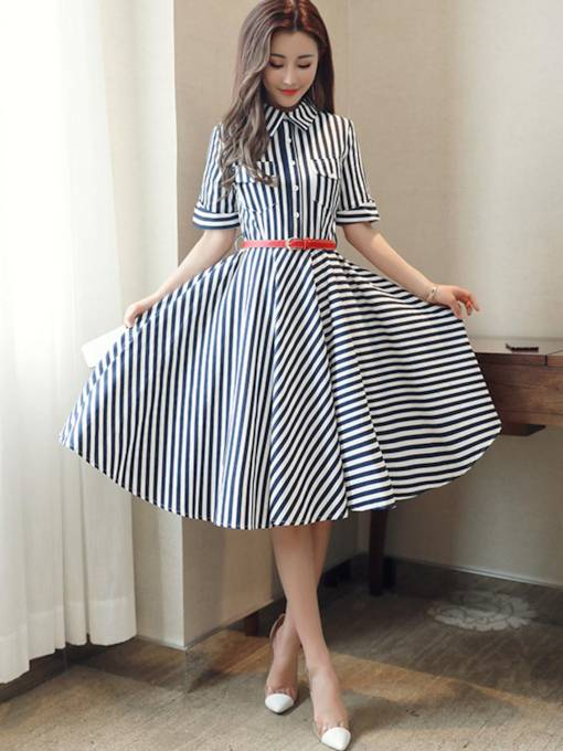 Striped Lapel Single-Breasted Women's Day Dress
