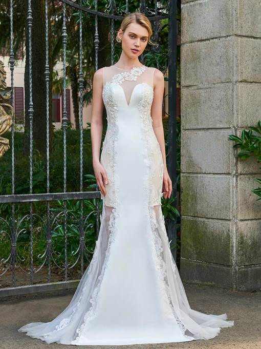 Scoop Neck Appliques Mermaid Wedding Dress
