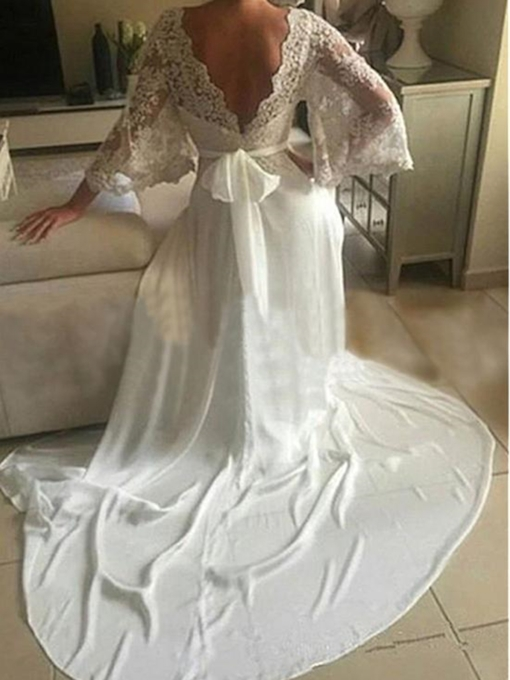 Appliques Sashes Beach Wedding Dress with Sleeves