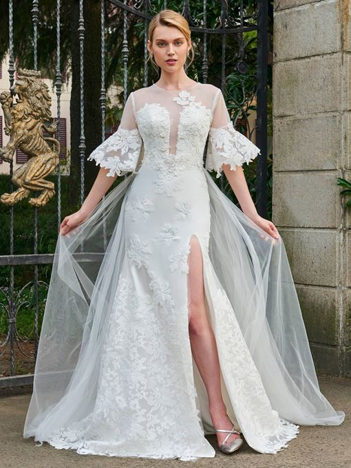 Illusion Neckline Half Sleeves Appliques Wedding Dress