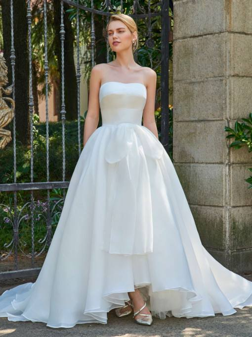 Strapless Bowknot High Low A-Line Wedding Dress