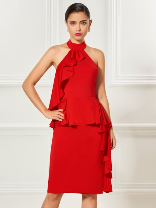 Halter Sheath Ruffles Knee-Length Cocktail Dress