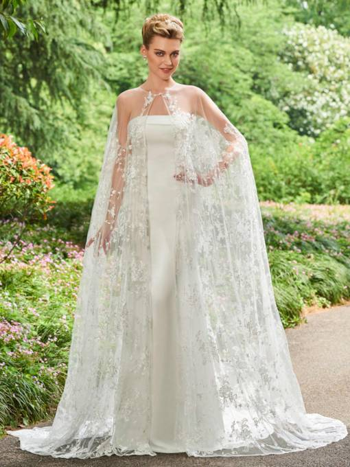 Strapless Appliques Lace Wedding Dress with Shawl