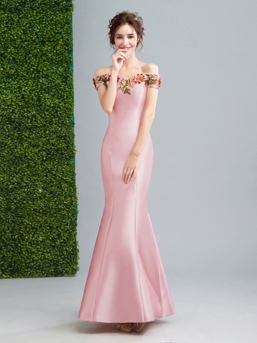 Off-the-Shoulder Trumpet Embroidery Floor-Length Evening Dress